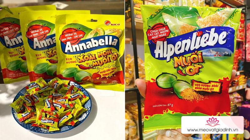 Kẹo Annabella xoài muối ớt có giống kẹo Alpenliebe xoài muối ớt không?