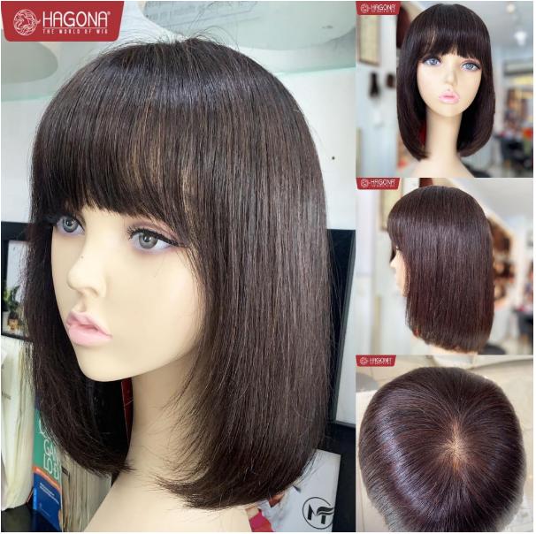 Tóc giả nguyên đầu cao cấp siêu da 5S làm bằng 100% tóc thật